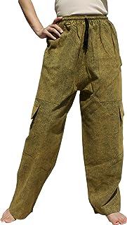 Raan Pah Muang Stonewashed Cotton Cargo Pants Side Leg Hobo Pockets