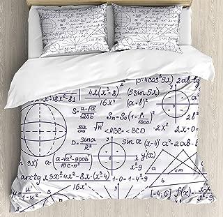 Ambesonne Modern Duvet Cover Set, School Genius Smart Student Math Geometry Science Numbers Formules Image Art, Decorative 3 Piece Bedding Set with 2 Pillow Shams, Queen Size, Dark Purple