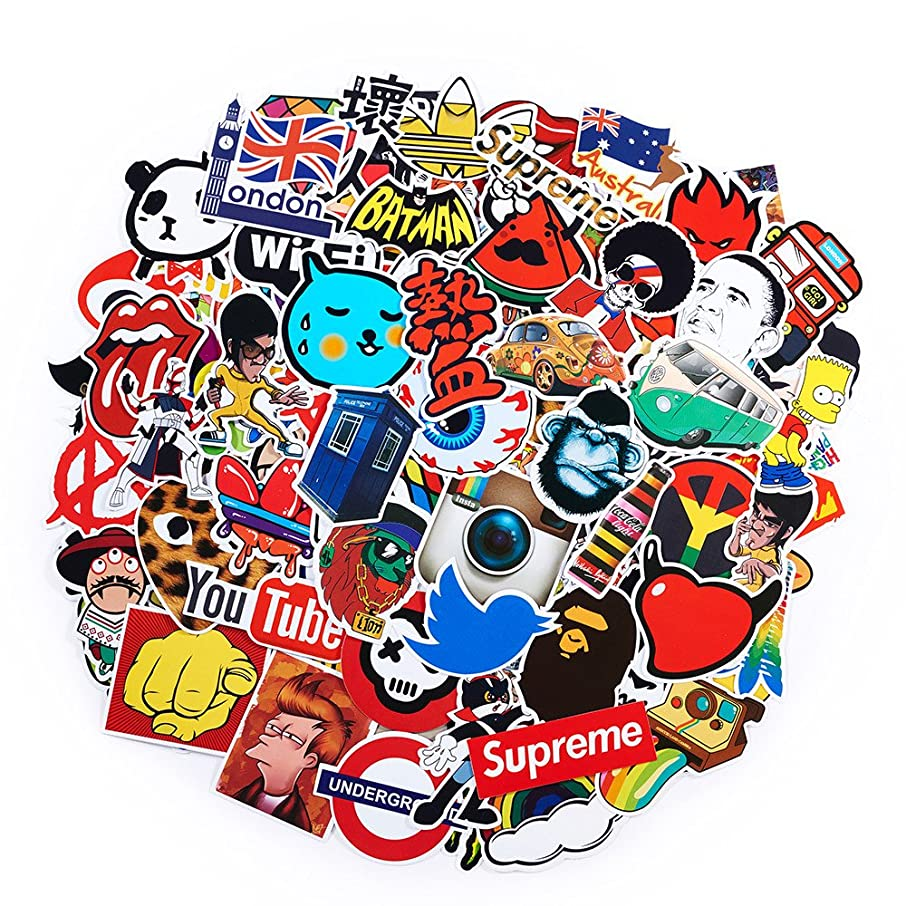 2018 Latest Style 100Pack SuprCool Stickers Set Random Sticker Decals for Water Bottle Laptop Cellphone Skateboard Bicycle Motorcycle Car Bumper Luggage Travel Case. Etc (100pcs)