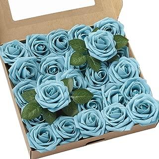 Ling's moment Roses Artificial Flowers 25pcs Realistic Aqua Blue Fake Roses w/Stem for DIY Wedding Bouquets Flower Arrangements Table Centerpieces Decorations