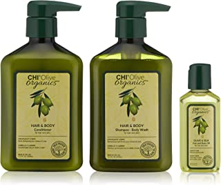 CHI Olive Organics Moisture Trio kit with Shampoo Body Wash, Conditioner and Oil