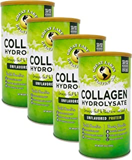 Great Lakes Gelatin, Collagen Hydrolysate, Unflavored Beef Protein, Kosher, 16 Oz Cans (Pack of 4)