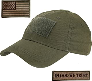 Tactical Hat with 2 Pieces Military Patches, Adjustable Operator OCP US Flag Hats Cap