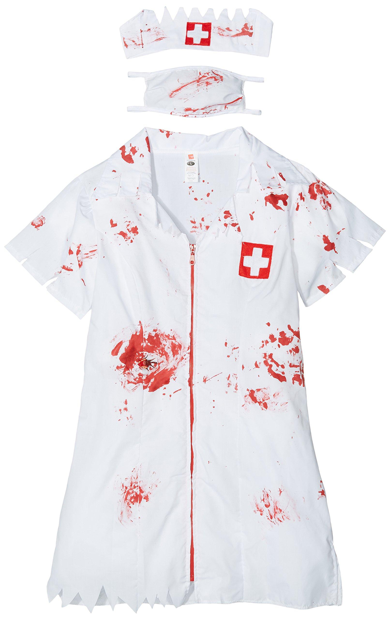 White with Dress UK Dress 8-10 Mask /& Headpiece Smiffys Zombie Nurse Costume