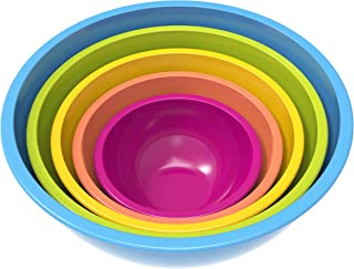 Zak Designs Colorways Mixing Bowl Set, Nesting Bowls for Space Saving Storage, Made with Durable Melamine, Great for Prepp...