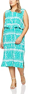My Size Women's Plus Size Palm Cove Abstract Maxi, Green
