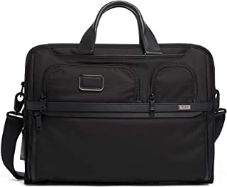 Alpha 3 Compact Large Screen Laptop Brief Briefcase - 17 Inch Computer Bag for Men and Women - Black