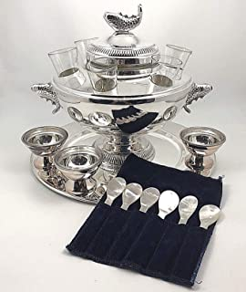 New Silver Plated Caviar Vodka Server 6 Glasses Tray 3 Bowls Mother Of Pearl Spoons - Luxurious (Only 1 set left) US -fast ship