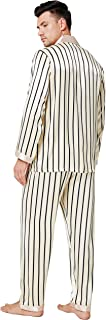 LONXU Mens Silk Satin Pajamas Set