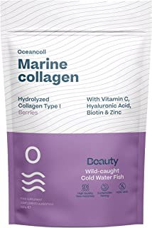 Oceancoll Beauty | Hydrolysed Marine Collagen with Hyaluronic Acid, Vitamin C, Biotin and Zinc | Anti-Ageing Formula | Spe...