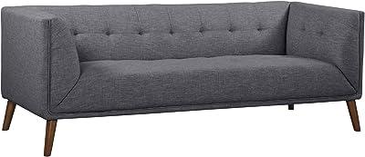 Armen Living Hudson Sofa in Dark Grey Linen and Walnut Wood Finish
