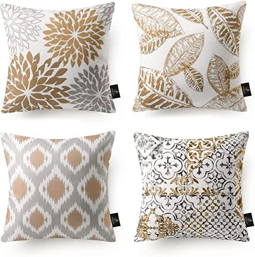 popular Phantoscope Set of 4 New Living Series Coffee Color Decorative Throw Pillow Case online Cushion Cover sale 18 x 18 inches 45 x 45 cm outlet online sale
