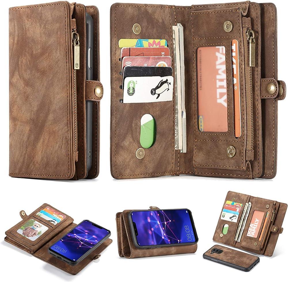 Simicoo portafoglio porta carte di credito in ecopelle custodia per huawei mate 20 lite