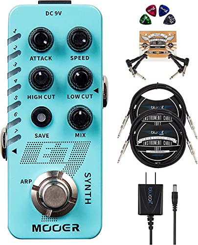 """popular MOOER lowest E7 Polyphonic Guitar Synth Pedal Bundle with Blucoil 9V AC Adapter, 2-Pack of 10' Straight Instrument Cables (1/4""""), 2-Pack of online Pedal Patch Cables, and 4-Pack of Celluloid Guitar Picks outlet online sale"""