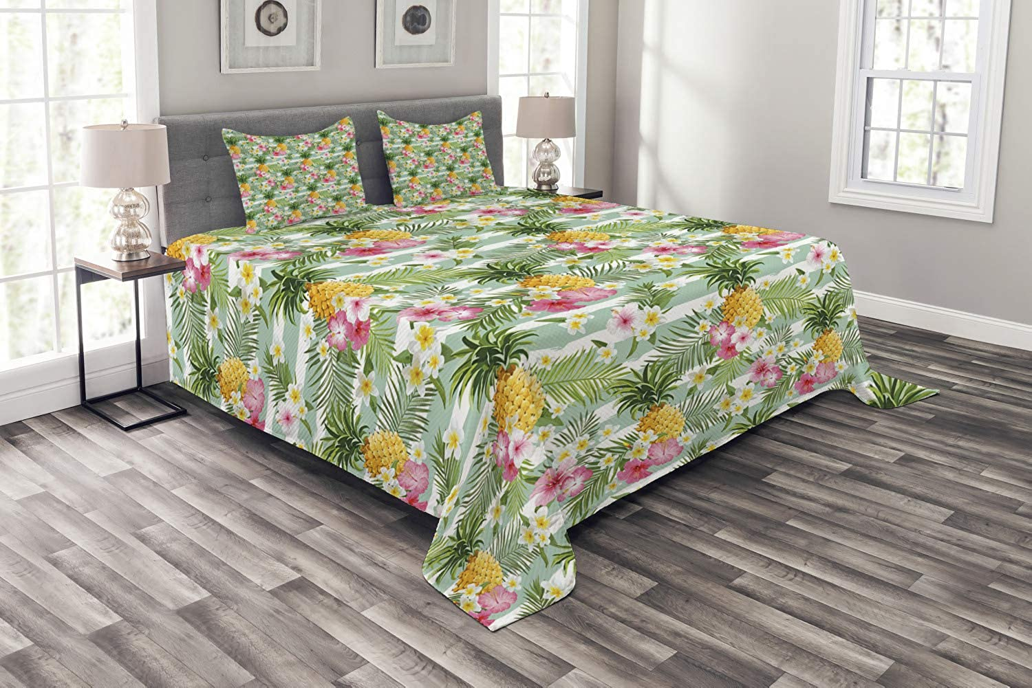 Ambesonne Fruits Bedspread Set Queen Size, Tropical Plants Botany Exotic Daffodil Geometrical Lily Surreal Exotic Beauty Theme, 3 Piece Decorative Quilted Coverlet with 2 Pillow Shams, Multicolor