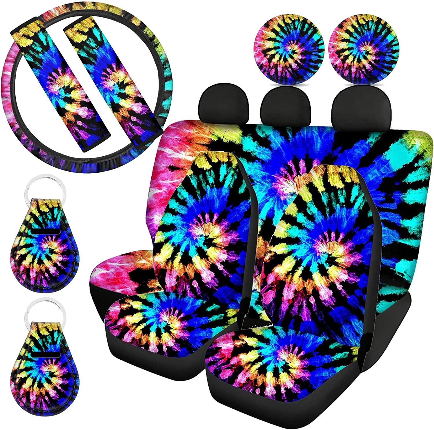Don't miss the campaign Showudesigns Tie Dye Car Accessories Full Front Set Co Back Dallas Mall Seat