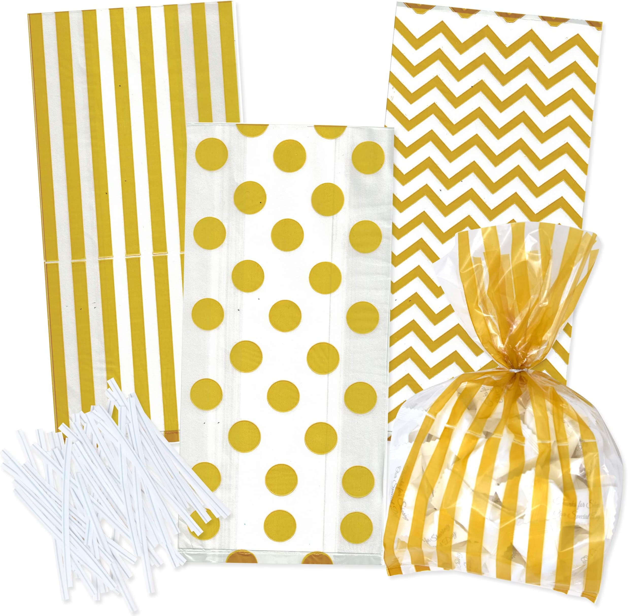 Free Shipping! Medium Gold /& White Candy Stripe 4x2x9 Cello Cellophane Party Treat Food Snack Bags
