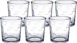 Amazon Brand - Solimo Amaya Whisky Glass Set, 285ml, Set of 6, Transparent