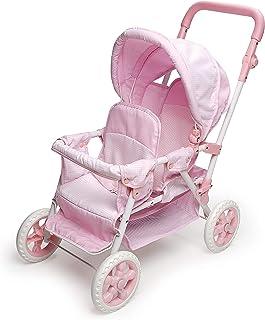 Badger Basket Folding Double Front-to-Back Doll Stroller (fits American Girl Dolls), Pink/White