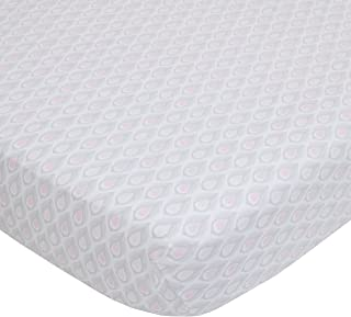 Dwell Studio Beautiful Boheme Peacock/Feathers Cotton Super Soft Fitted Crib Sheet, Pink/Gray/White