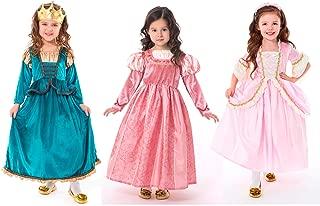 Little Adventures Scottish, Coral Renaissance, & Pink Parisian Princess Dress Up Costume Bundle Set (Medium (Age 3-5))