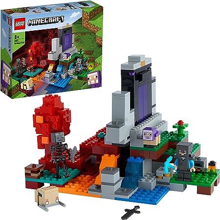 LEGO Minecraft Il Portale in Rovina, Set Giocattoli per Bambini di 8 Anni con Steve, la Pecorella e il Baby Hoglin, 21172