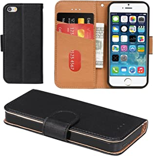 iPhone 5 Case, iPhone 5S Case, Aicoco Flip Cover Leather, Phone Wallet Case for Apple iPhone 5 / 5S / SE - Black