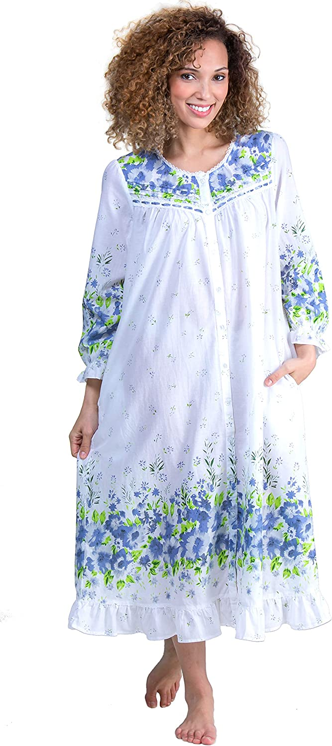 LaCera Long Sleeve Max 54% OFF Cotton Button Wildflower Ranking TOP19 Robe Bleu in Front