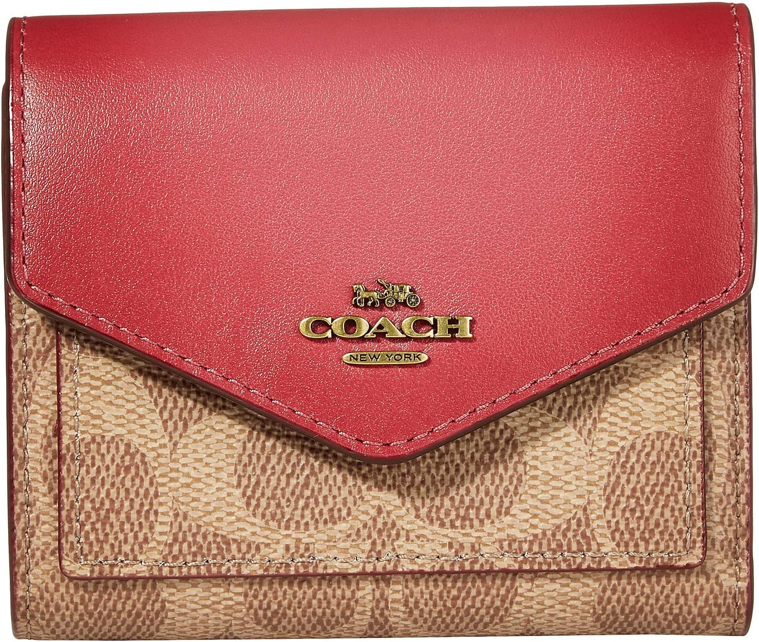 COACH Color-Block Signature Small High quality Wallet Max 76% OFF On Tan Dusty Brass Pink