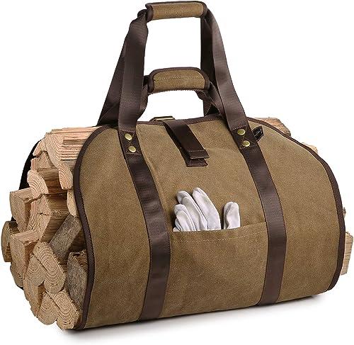 BONTHEE Sac de transport de bûches en toile à 2 poignées avec poche pour bois de cheminée - Marron