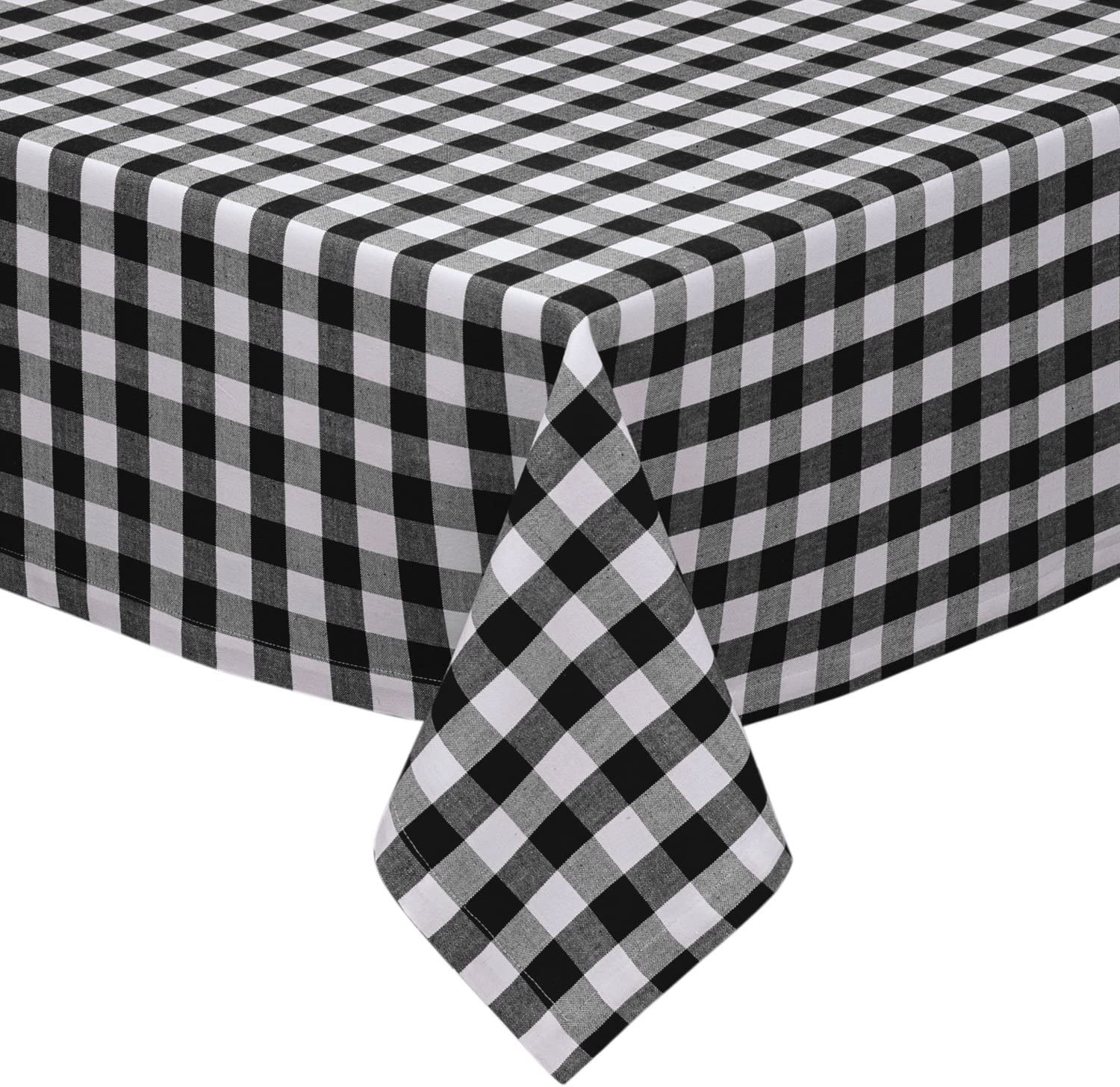 Bathroom And More Gingham Plaid Design Cotton Rich 58 X 84 Black And White Checkered Kitchen Dining Room Tablecloth Amazon Co Uk Kitchen Home