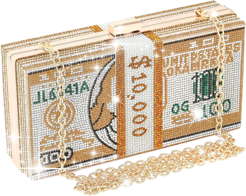 WJCD Money Clutch Rhinestone Purse Stack of Cash Unique Evening Clutch Handbag Shoulder Bag Crossbody Bag Rhinestone Handbag