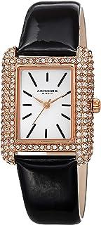 Akribos XXIV Swarovski Crystal Rectangle Watch - 200 Swarovski Crystals On Bezel On Genuine Leather Strap- AK1068