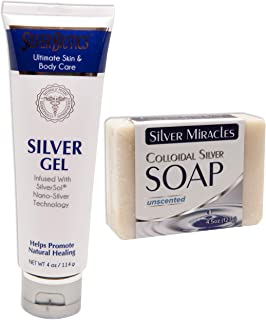 Silver Biotics Gel Colloidal Silver Soap - American Biotec Labs Silver Gel 4 oz and Silver Miracle Soap Bar 4.5 oz bundle ...