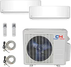 COOPER AND HUNTER 2 Zone Mini Split - 12000 + 12000 Ductless Air Conditioner - Pre-Charged Dual Zone Mini Split