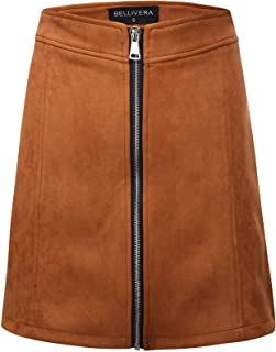 Bellivera Women's High Waist Faux Suede Mini Short Bodycon Skirt for Spring and Fall