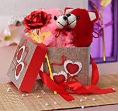 TIED RIBBONS Valentine Day Gift for Husband Wife Girlfriend Boyfriend Him Her - Gift Combo (Valentines Special 24K Gold Plated Rose and Teddies with Gift Box)