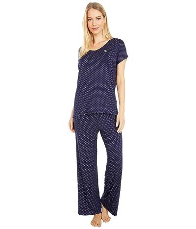 LAUREN Ralph Lauren Rayon Spandex Jersey V-Neck Dolman Sleeve Ankle Pants Pajama Set (Navy Dot) Women