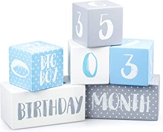 Ultimate Baby Boy Milestone Age Photo Blocks | The Only Wooden Double Set for Lifetime - Week, Month, Year, Pictures + Bon...