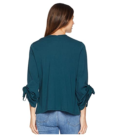 Rouched Knit Teal Colección de Sleeve Nia Cardigan B Bobeau qwIHOY