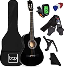 Best Choice Products Beginner Acoustic Guitar Starter Set 38in w/Case, All Wood Cutaway Design, Strap, Picks, Tuner - Black