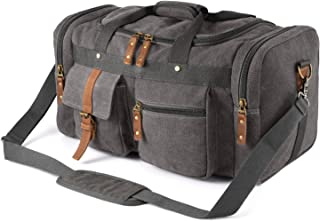 Plambag Oversized Canvas Duffel Bag Overnight Travel Tote Weekend Duffle Bag(Gray)