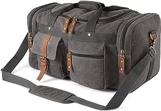 Plambag Oversized Canvas Duffel Bag Overnight Travel Tote Weekend Duffle Bag(Gray)