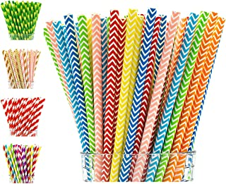 Paper Straws by Party Girl Kim - 200 Box | Rainbow Straw Party Decorations | Lemonade Stand Supplies | Decorative Cute Colorful Drinking Straws - Eco Friendly Biodegradable Straws (Rainbow Chevron)