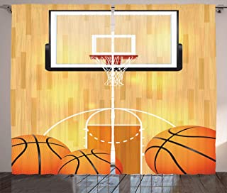 Ambesonne Sports Décor Basketball Curtains