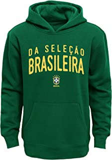 Outerstuff Brazil Soccer Youth Green Name and Logo Long Sleeve Hooded Sweatshirt