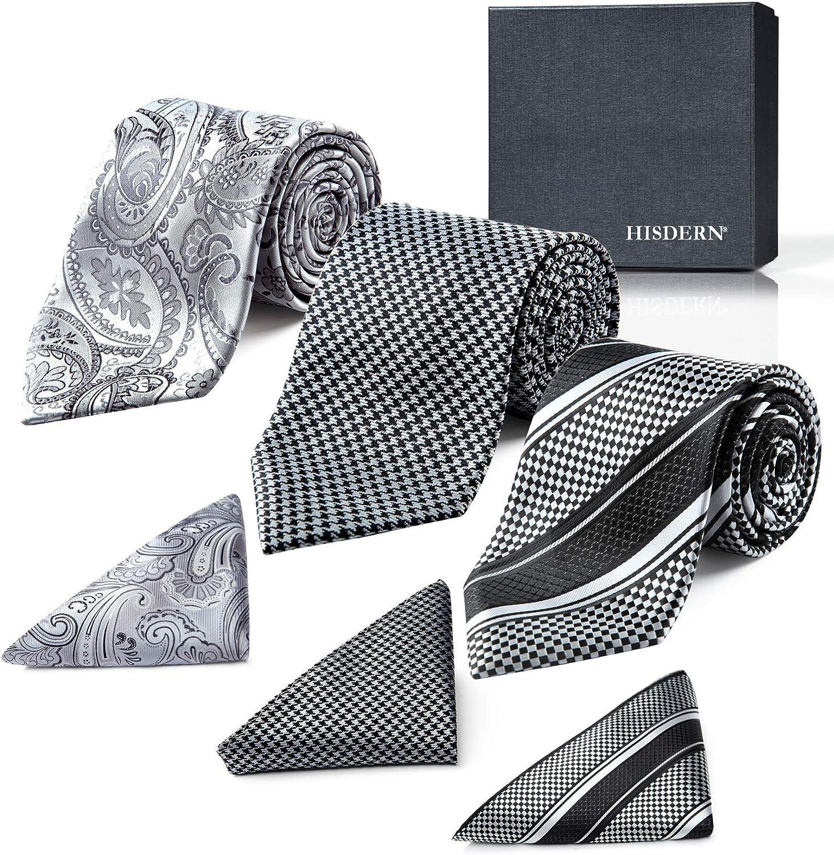 Men's Neckties Extra Long Classic Silk Ties Collection 63 Inch XL Necktie & Pocket Square Gift Box Tie Set Lot 3 PCS