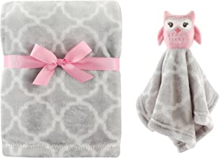 Hudson Baby Unisex Baby Plush Blanket with Security Blanket, Girl Owl 2 Piece, One Size