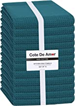 Cote De Amor 12 Pack Kitchen Dish Towels 100% Cotton 16x26 Absorbent Durable Washable, Tea Towels, Dish Cloths, Bar Towels...