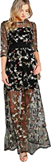 Women's A Line Floral Embroidery Mesh Sheer Evening Cocktail Dress